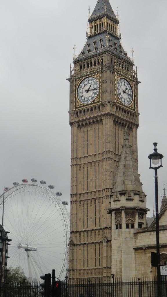 Op de achtergrond London Eye